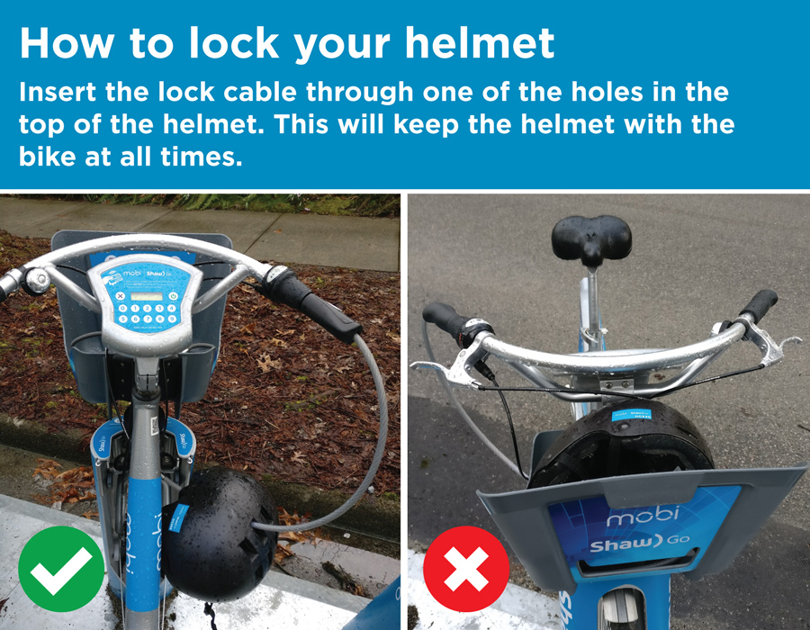 To lock helmet: insert the lock cable through one of the holes in the top of the helmet. This will keep the helmet with the bike at all times.