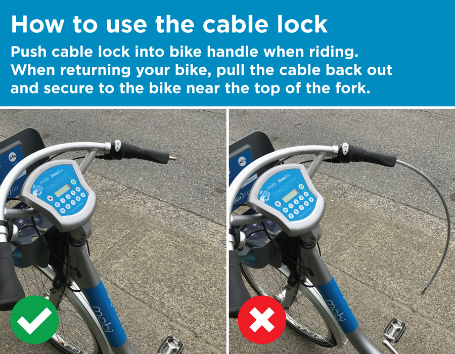 To use cable lock: push cable lock into bike handle when riding. When returning your bike, pull the cable back out and secure to the bike near the top of the fork.